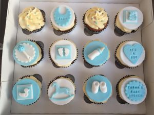 Baby shower blue cupcakes