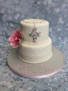 Flower with rosery Christening Cake
