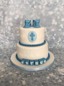 blue booties christening cake