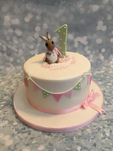 bunting and bunny cake