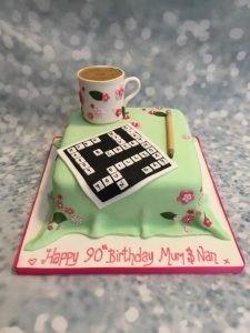 tea and crossword cake