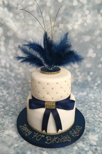 Navy and gold feather cake