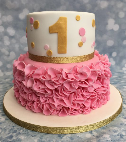 Pink and gold ruffle cake